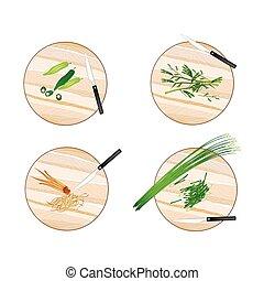 Garlic Chives, Water Mimosa, Okra and Fingerroot