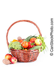 Vegetable in basket isolated on white