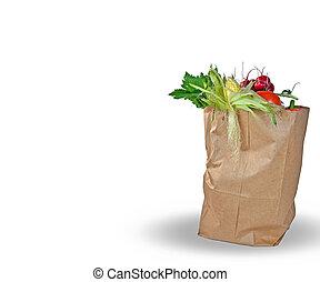 vegetable in brown paper bag