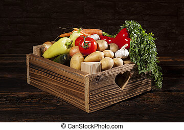Vegetable in wooden crate.
