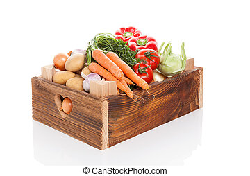 Vegetable in wooden crate. - Organic seasonal vegetable in...