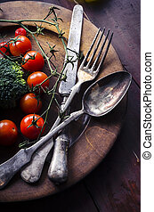 Vegetable in wooden plate