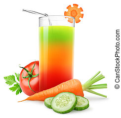 Vegetable juice - Fresh vegetable juice isolated on white