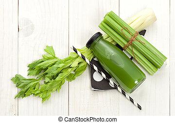 Vegetable juice in bottle