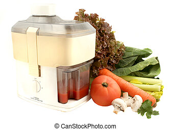 vegetable juicer - variety of vegetables and juicer