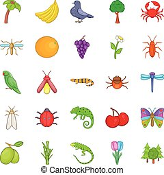 Vegetable kingdom icons set, cartoon style