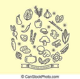 Vegetable line icons with outline style design elements -...