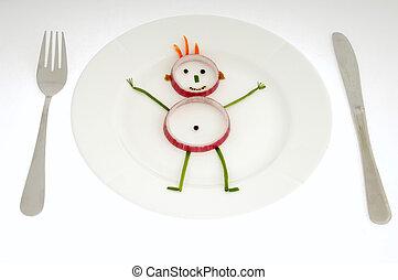 Vegetable man on dish