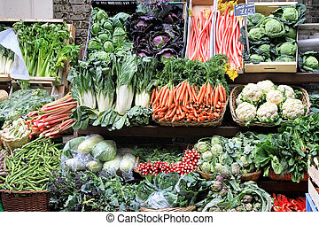 Vegetable market - Market stall with varaity of organically ...