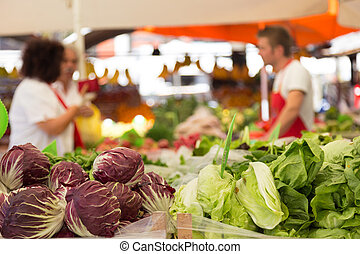 Vegetable market stall. - Market stall with variety of ...