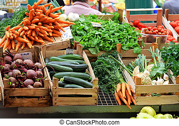 Vegetable market - Fresh and organic vegetables at farmers...