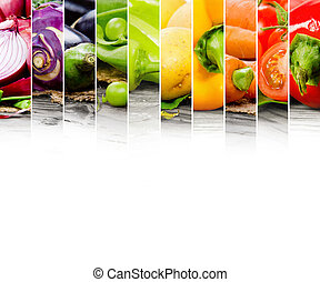 Photo of colorful vegetable mix with white space for text