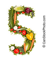 Vegetable number - Number made of various kinds of vegetable...