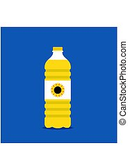 Vegetable oil in a plastic bottle isolated on blue background. Cartoon vector cooking oil. Food fat bottle. Cooking oil bottle in flat style.