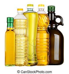 Vegetable oil - Olive and sunflower oil in the bottles set...