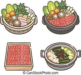 vegetable., olla, sistema caliente, carne
