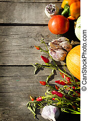 Vegetable on a wood background