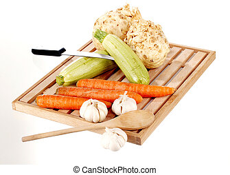 Vegetable on a wooden plate