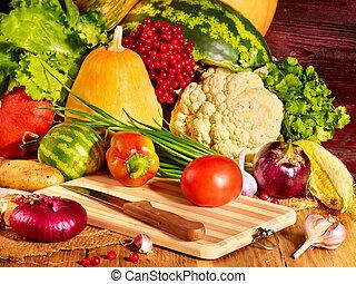 Vegetable on wooden boards. - Fresh vegetable on wooden...