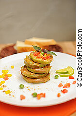 Vegetable pancakes on a plate