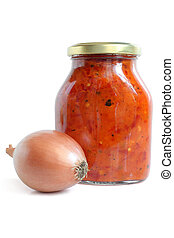 Vegetable paste in glass jar with onion