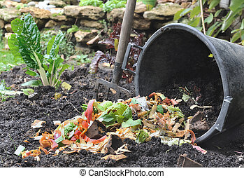 bucket spilling various vegetable peelings on soil from the garden