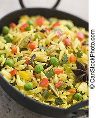 Vegetable Pilau Rice in a Balti Dish
