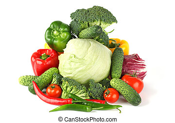 vegetable pile isolated on white