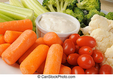 Vegetable platter - A vegetable platter with blue cheese ...