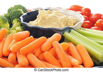 Vegetable platter with hummus - Closeup of a vegetable ...