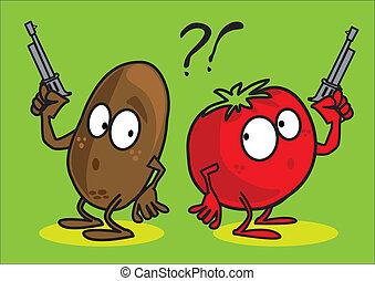 Vegetable, potato, tomato,pistol, - Vegetable, potato,...