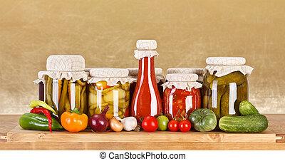 Vegetable preserves - Various pickles in glass bottle...
