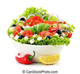 Vegetable salad bowl isolated on white background