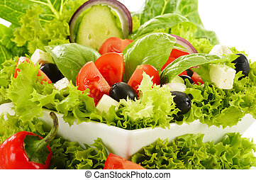 Vegetable salad bowl isolated on white