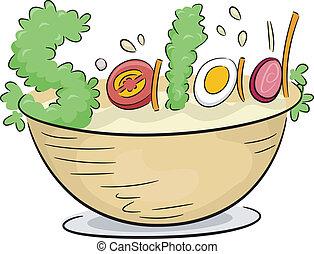 Vegetable Salad - Text Illustration Depicting Vegetable...