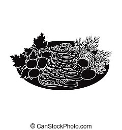 Vegetable salad. Food and cooking single icon in black style vector symbol stock illustration web.