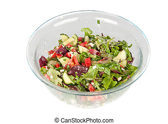 vegetable salad in a large glass bowl