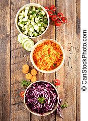 vegetable salad in bowl- top view