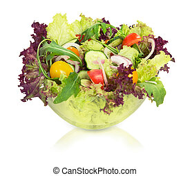 Vegetable salad in glass bowl. isolated.
