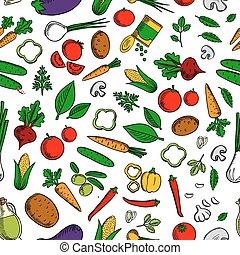 Vegetable salad ingredients seamless pattern