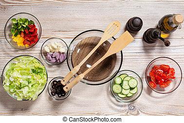 Vegetable salad ingredients - top view