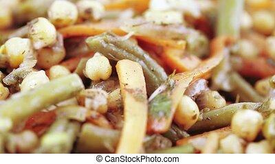 Vegetable salad on a plate - On a blue plate vegetable salad
