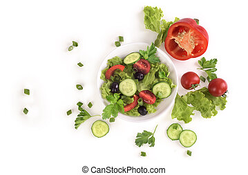 Vegetable salad on a plate on a white background
