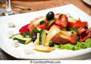 Vegetable salad on plate