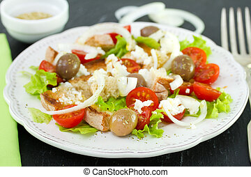 vegetable salad on plate with fork