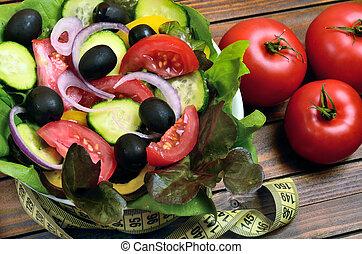 Vegetable salad on table