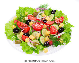 Vegetable salad with cheese..