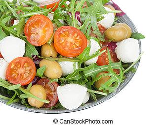 vegetable salad with mozzarella cheese