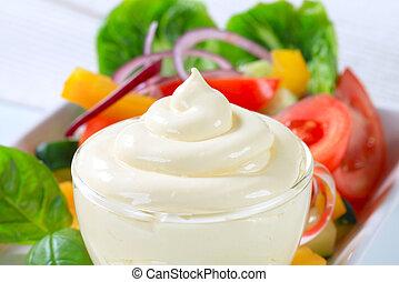 Vegetable salad with salad dressing - Fresh vegetable salad ...