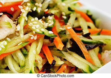 vegetable salad with shrimp and sesame. Chinese cuisine